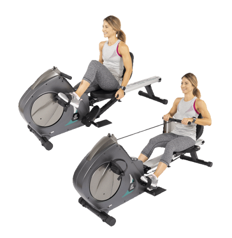 woman using a schwinn 570r recumbent bike. available at orbit fitness